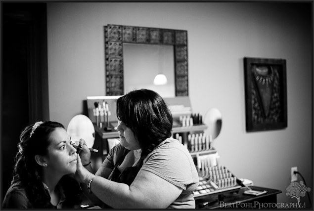 Jenny's makeup being done at the salon in preparation for her Watertown NY Wedding