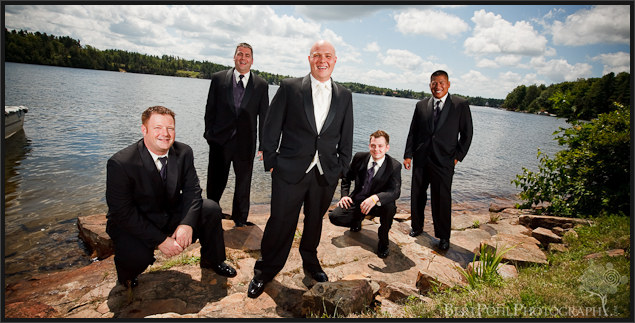 Jade and the groomsmen by the lake Plessis NY