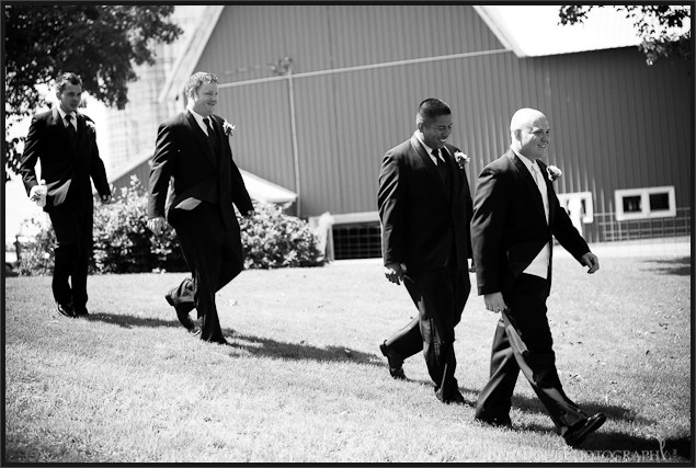 Jade and the boys make an entrance to their country wedding in Plessis NY