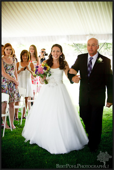 Jenny walking down the isle with her father at her wedding Plessis NY