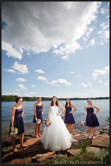 Jenny and her bridesmaid's by the lake