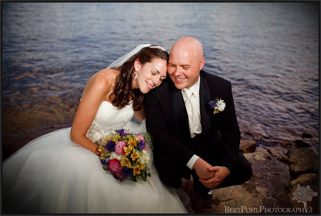 Jenny and Jade's wedding photo by the lake Plessis NY area
