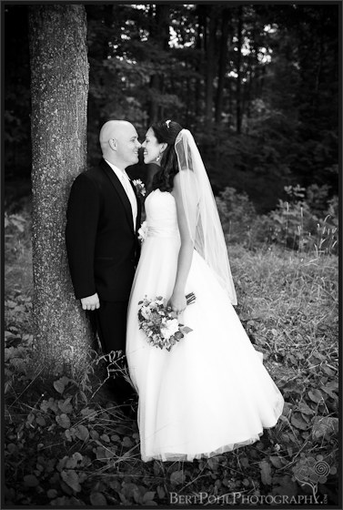 Jenny and Jade's wedding photo in the forest near Thousand Islands NY area