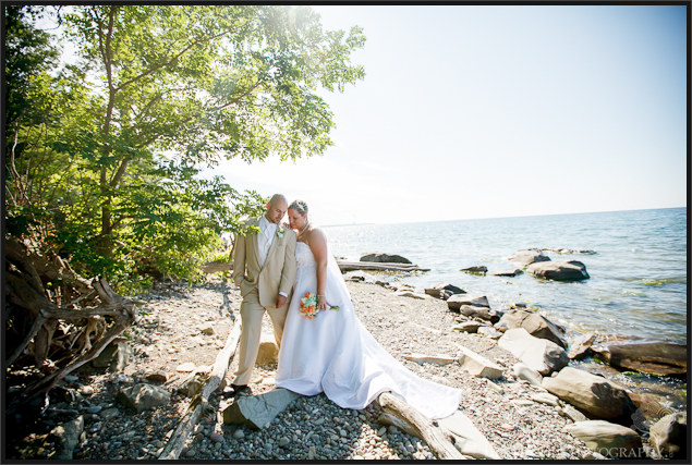 Danielle and David's rustic beach wedding pictures at Mexico Point State Park NY