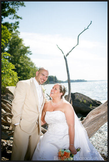 Danielle and David's driftwood beach wedding pictures at Mexico Point State Park NY