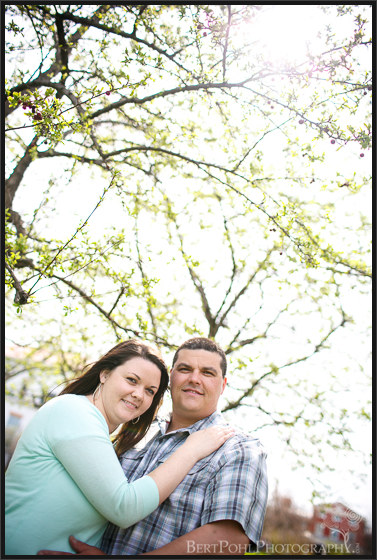 Ogdensburg NY Photographers: Jenny & Judd Engagement session springtime with blooms