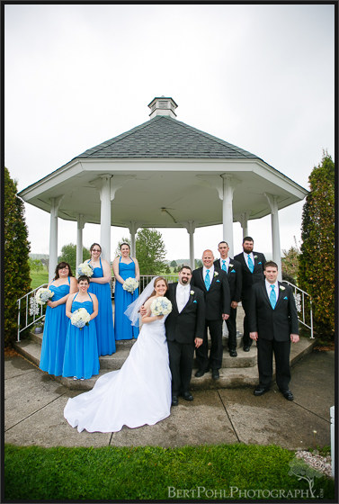 Ashley & Michael's wedding party picture by the gazebo wedding pics in upstate ny wedding photographers