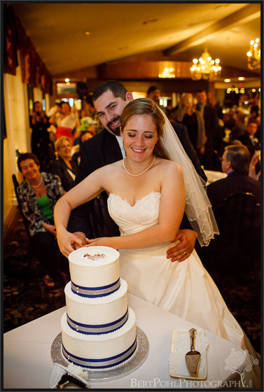 Ashley & Michael cut their cake at the reception dance at orchard vali upstate ny wedding photography