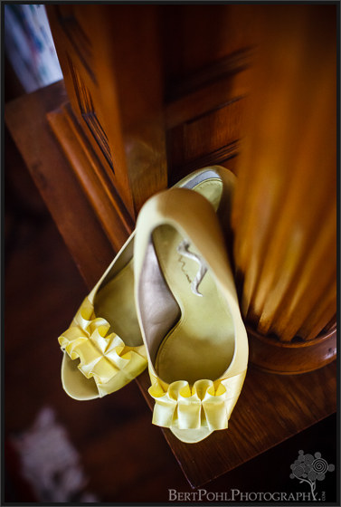 Julia's yellow wedding shoes in Ogdensburg NY Wedding Photographers