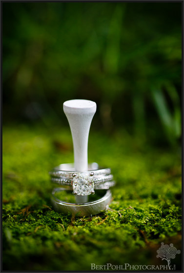 Julia & John's golf tee ring photo picture near the Gran View Ogdensburg NY Wedding Photographers