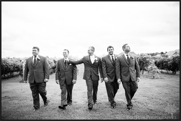 Randy and his groomsment in vineyards at his wedding at Thousand Island Winery Wedding Photography