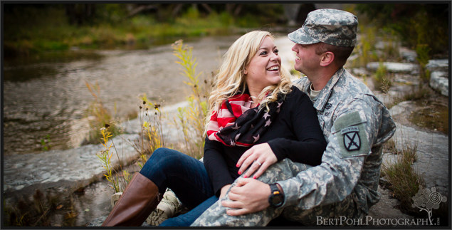 Brittany & Mark's autumn engagement session with their puppy at Madison Barracks Sackets Harbor NY Engagement Photography