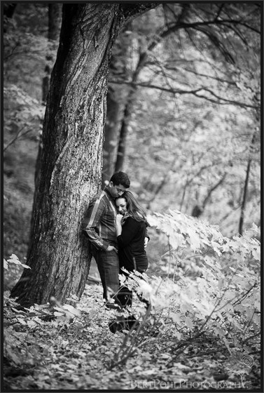 Maria and Rob's cuddle for their colorful Autumn Engagement Session Watertown NY Wedding Photographers