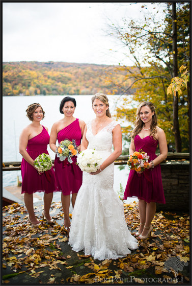 Erica and her bridesmaids pose for her autumn wedding Upstate New York Wedding Photographer