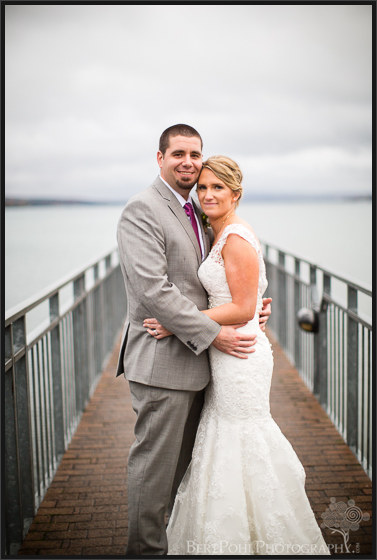 Erica & Ryan's couple pictures on the pier for their autumn wedding Upstate New York Wedding Photographers
