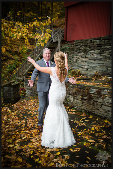 Erica and her father's first look at her autumn wedding Watertown New York Wedding Photographers