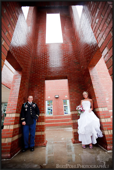Jessica & Bill chapel bell tower wedding photos, Fort Drum NY