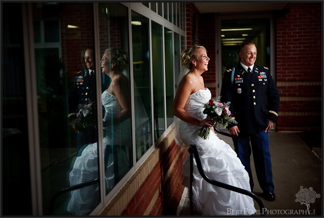 Jessica & Bill laughing wedding photos, Fort Drum NY