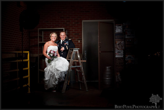 Jessica & Bill loading dock couple wedding photos, Fort Drum NY