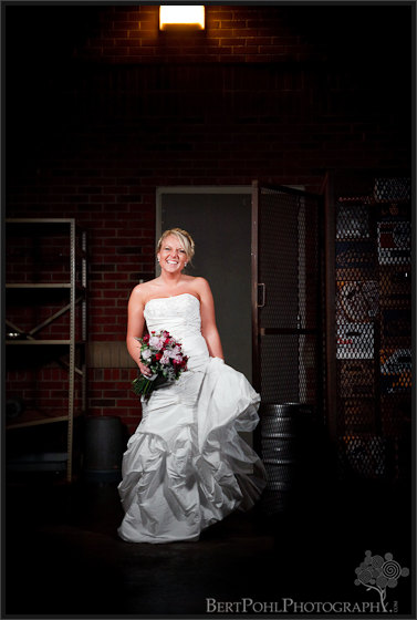 Jessica bridal photos loading dock, Fort Drum NY